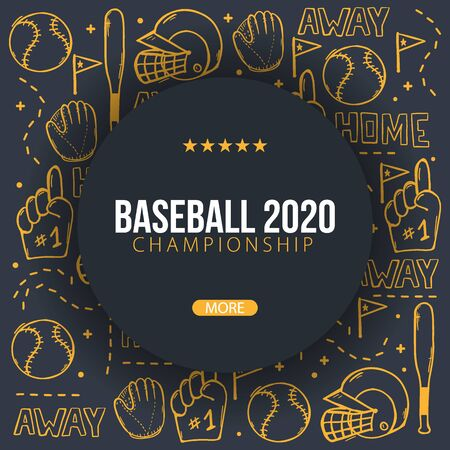 Baseball background with hand draw doodle elements. Template Design Illusztráció