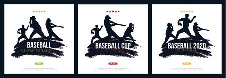 Set of Baseball banners with players. Sports posters design.
