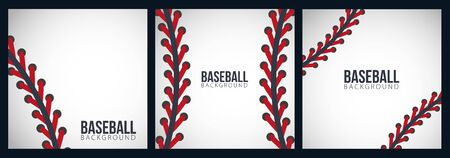 Set of Baseball lace backgrounds on a white background. Vector illustration.