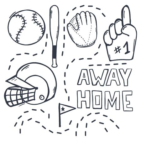 Set of Baseball hand draw doodle elements. Template Design Illusztráció