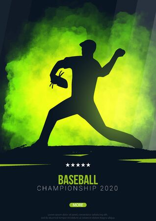 Baseball banner with players. Modern sports posters design.