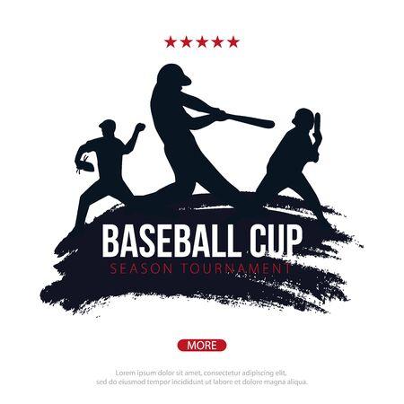 Baseball banner with players. Sports posters design. Illusztráció