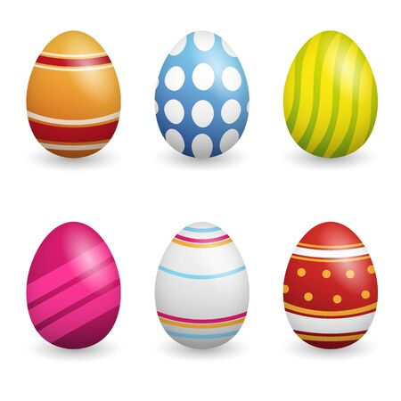 Happy Easter. Set of Easter eggs with different texture on a white background. Spring holiday. Vector Illustration. Happy easter eggs.