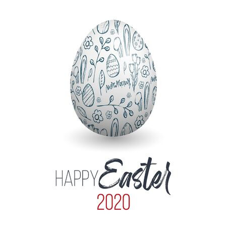 Happy Easter. Easter egg with doodle texture on a white background. Spring holiday. Vector Illustration. Happy easter eggs.