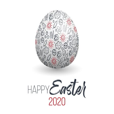 Happy Easter. Easter egg with virus texture on a white background. Spring holiday. Vector Illustration. Happy easter eggs.