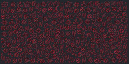 Background with virus. Vector illustration with hand draw doodle elements.