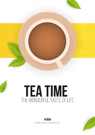 Tea time banner on white background with tea leaves and cup. Vektorové ilustrace