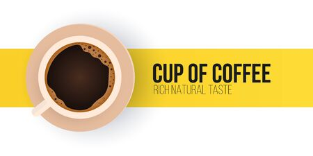 Cup of coffee. Coffee time banner on white and yellow background.
