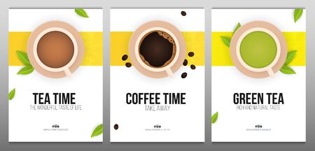 Set of Tea and Coffee time banners on white and yellow backgrounds with tea leaves.