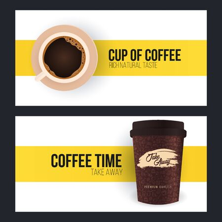 Cup of coffee. Set of Coffee time banners on white and yellow background.