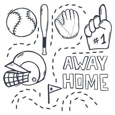 Set of Baseball hand draw doodle elements. Template Design.