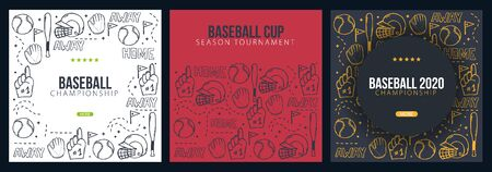 Set of Baseball backgrounds with hand draw doodle elements. Template Design.