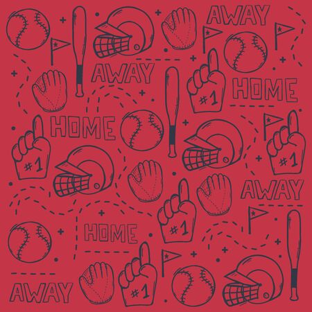 Baseball background with hand draw doodle elements. Template Design Ilustracja