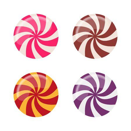 Set of flat lollipop sweets. Vector illustration.