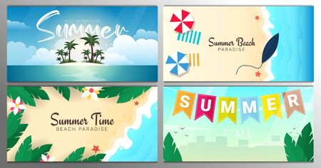 Set of banners. Tropical Island Beach with palms. Summer Time. Beautiful Sea Landscape
