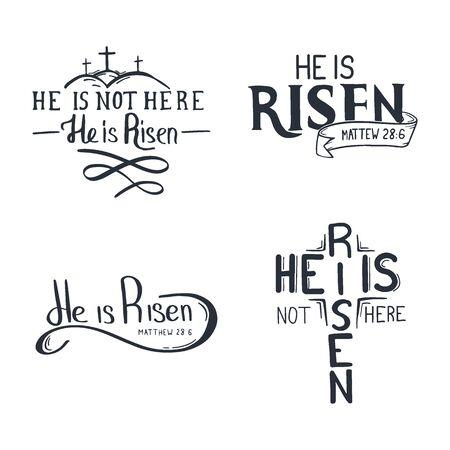 Set of Easter Letterings - He is Risen. Vector Illustration