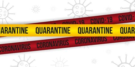 Pandemic stop Novel Coronavirus outbreak covid-19 or 2019-nCoV. Quarantine banner with stripes.
