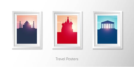 Travel posters. India, Russia and Greece. Vector illustration.