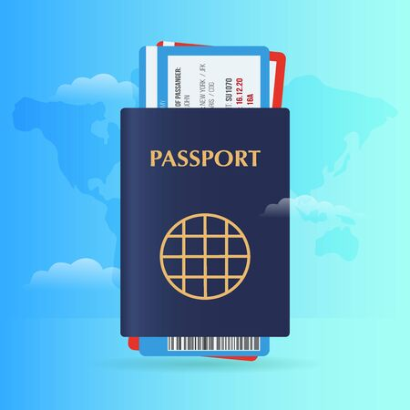 Time to travel banner with passport and tickets. Vacation. Road trip. Tourism. Journey. Travelling illustration. Modern flat design.