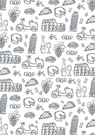 Doodle hand drawn background. Travel to Italy. Vector illustration.