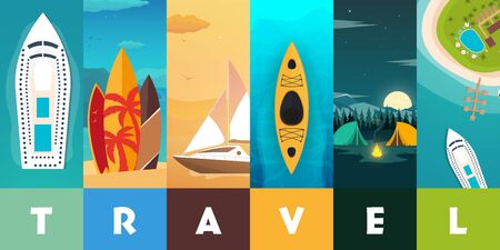 Travel concept background. Summer concept. Header format with vertical stories.