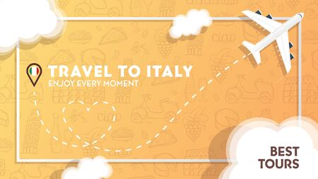 Travel to Italy banner with plane and clouds. Hand draw doodle background. Иллюстрация