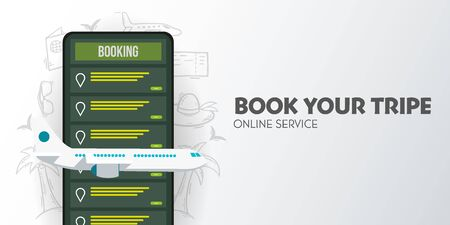 Time to travel banner Online booking service. Book travel on the smartphone. Trip planning. Online reservation of plane and train tickets.