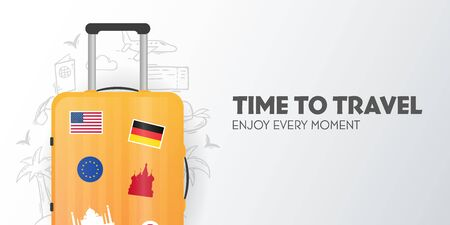 Time to travel banner with travel bag. Vacation. Road trip. Tourism. Journey. Travelling illustration. Modern flat design.