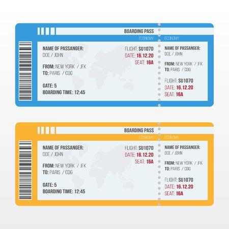 Viajar por avión. Tarjeta de embarque de viaje de aerolínea. Plantilla plana de vector. Ilustración de vector