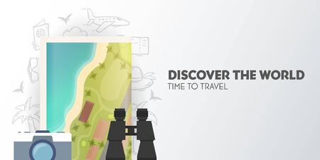 Time to travel banner with map, camera and binoculars. Vacation. Road trip. Tourism. Journey. Travelling illustration. Modern flat design. Ilustracja