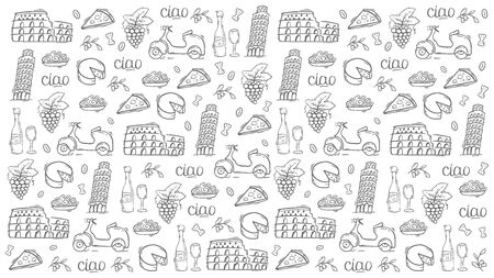 Cartoon cute hand drawn Italian travel background. Vector illustration.