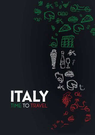 Travel to Italy banner. Doodle hand drawn background. Vector illustration.