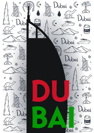 UAE. Travel to Dubai. Hand draw doodle background. Vector illustration Illusztráció