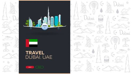 UAE. Travel to Dubai. Hand draw doodle background. Vector illustration. 版權商用圖片 - 147739562