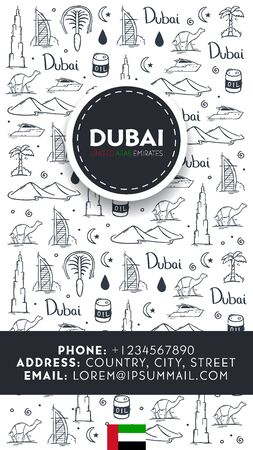 UAE. Travel to Dubai. Hand draw doodle background. Vector illustration. Illusztráció
