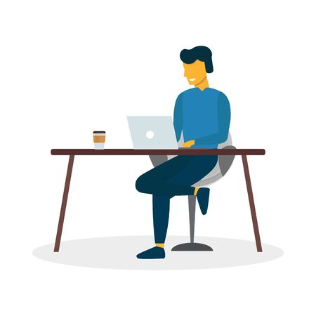 Freelance or study concept. Man work with laptop and sitting on the chair. Vector illustration