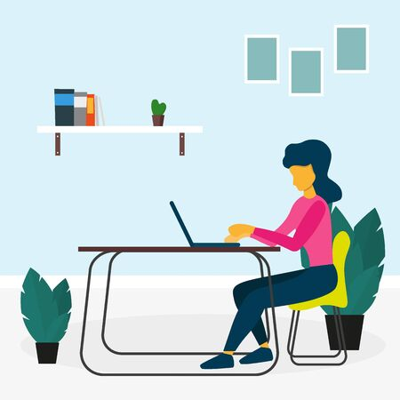 Freelance or study concept. Woman or Girl work with laptop and sitting on the chair. Vector illustration. Illustration
