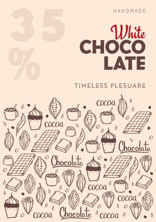 Chocolate poster with hand draw doodle background. Simple sketches of different kinds of cocoa and chocolate production. Ilustrace