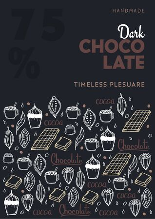 Chocolate poster with hand draw doodle background. Simple sketches of different kinds of cocoa and chocolate production. Vettoriali