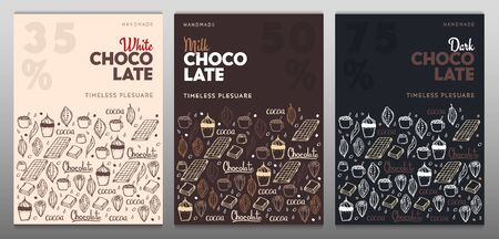 Set of Chocolate posters with hand draw doodle background. Simple sketches of different kinds of cocoa and chocolate production.