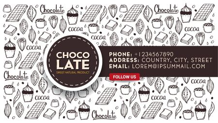Chocolate banner with hand draw doodle background. Simple sketches of different kinds of cocoa and chocolate production.
