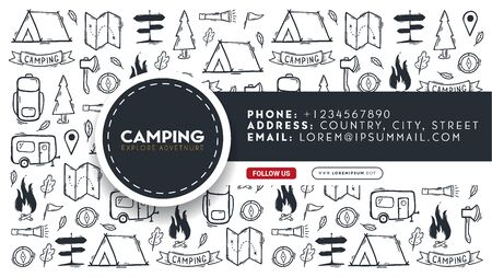 Summer camp. Camping hand draw doodle background. Social Media banner.
