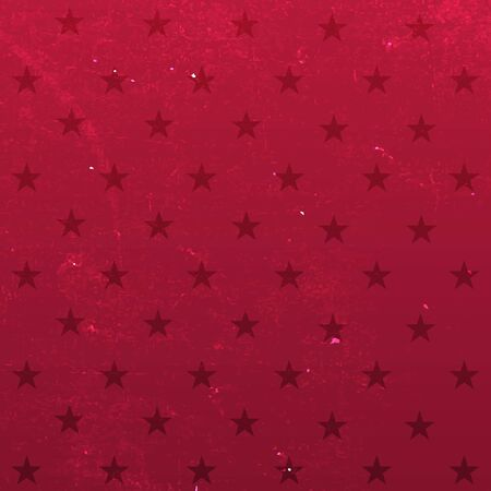 Red background with stars. Vector grange illustration.