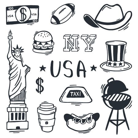 USA Hand draw doodle popular symbols and elements. Vector illustration.