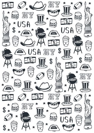 USA Hand draw doodle background. United States Of America popular symbols and elements. Vector illustration.