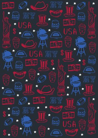 USA Hand draw doodle background. United States Of America popular symbols and elements. Vector illustration