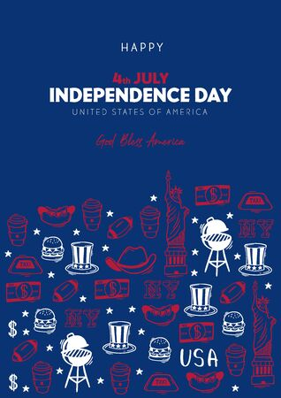 4th July Banner. Independence day of USA. Hand draw doodle background
