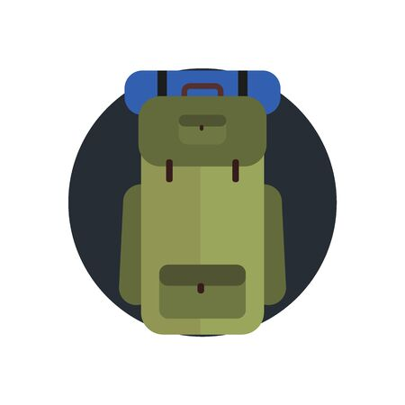 Summer camp icon backpack. Vector flat illustration. Vectores