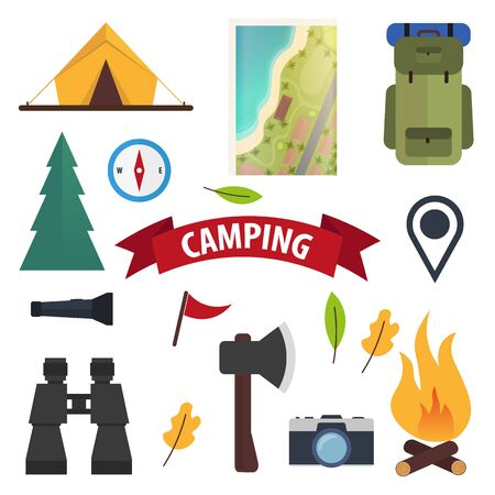 Summer camp flat icons. Tent, forest, backpack, bonfire. Vector illustration.