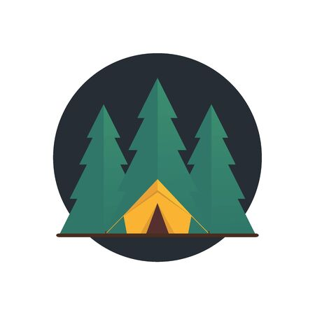 Summer camp icon forest. Vector flat illustration. Vectores